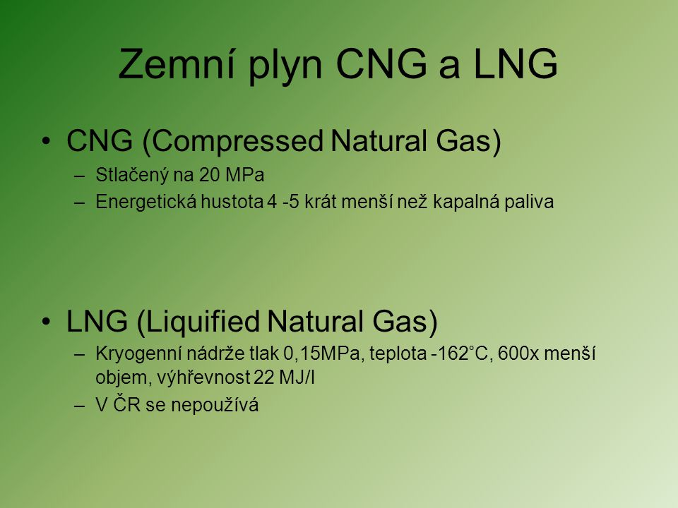 Zemní plyn CNG a LNG CNG (Compressed Natural Gas)