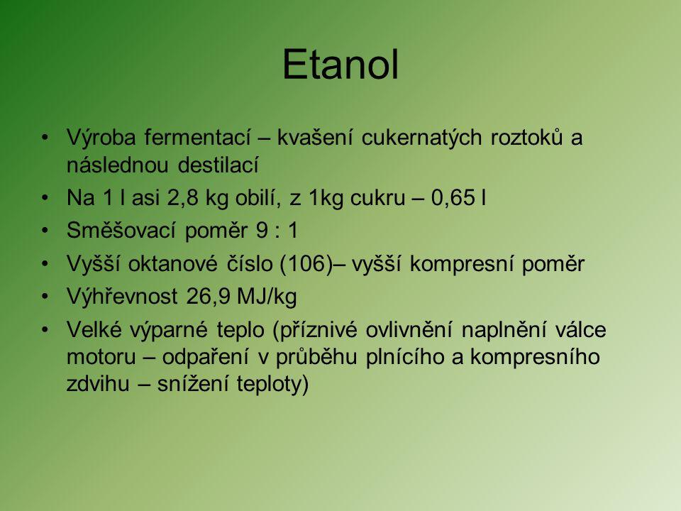 Etanol Výroba fermentací – kvašení cukernatých roztoků a následnou destilací. Na 1 l asi 2,8 kg obilí, z 1kg cukru – 0,65 l.