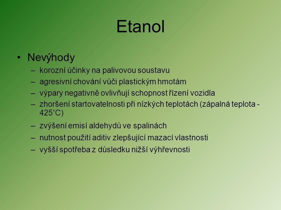 Etanol Nevýhody korozní účinky na palivovou soustavu
