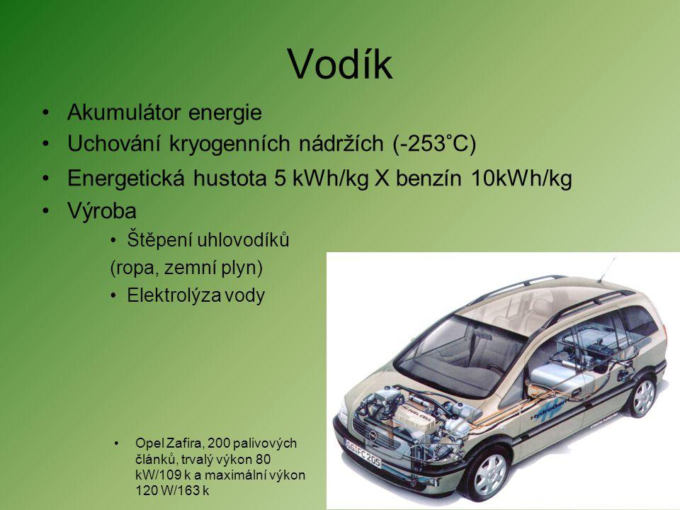 Vodík Akumulátor energie Uchování kryogenních nádržích (-253°C)