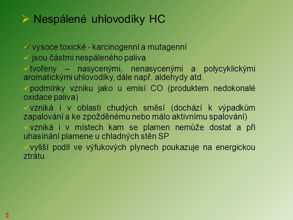 Nespálené uhlovodíky HC