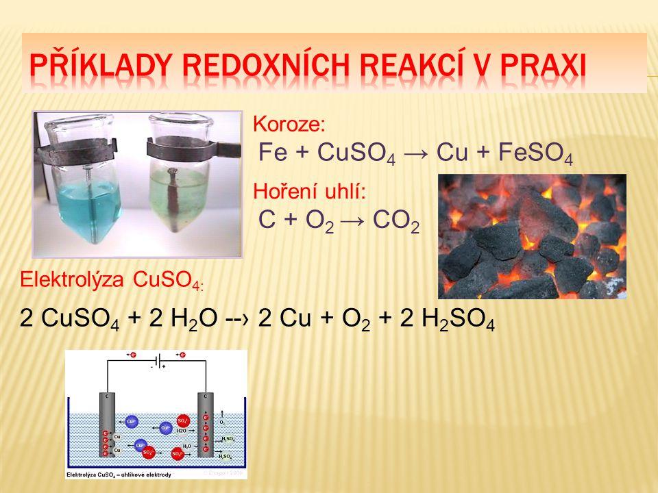 Příklady redoxních reakcí v praxi