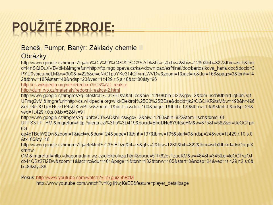 Použité zdroje: Beneš, Pumpr, Banýr: Základy chemie II Obrázky: