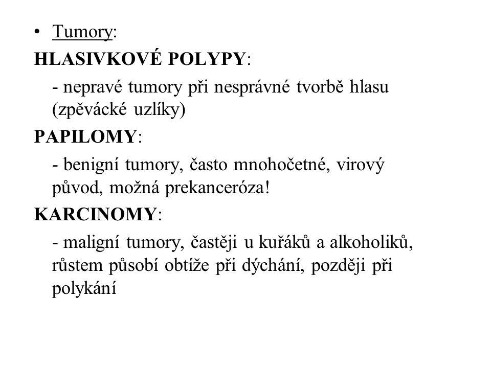 Tumory: HLASIVKOVÉ POLYPY: - nepravé tumory při nesprávné tvorbě hlasu (zpěvácké uzlíky) PAPILOMY: