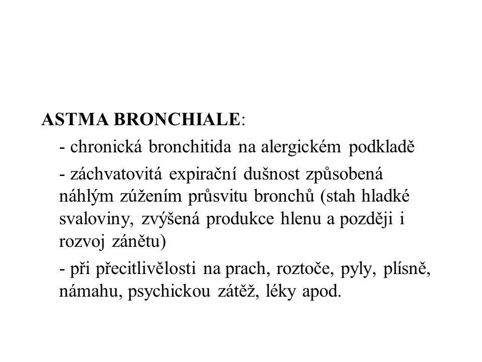 ASTMA BRONCHIALE: - chronická bronchitida na alergickém podkladě.