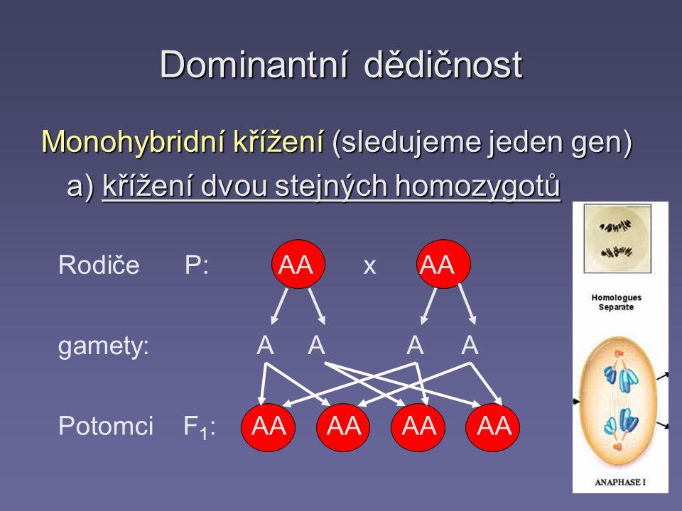 Dominantní dědičnost Monohybridní křížení (sledujeme jeden gen)
