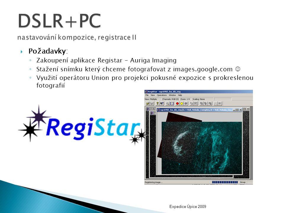 DSLR+PC nastavování kompozice, registrace II