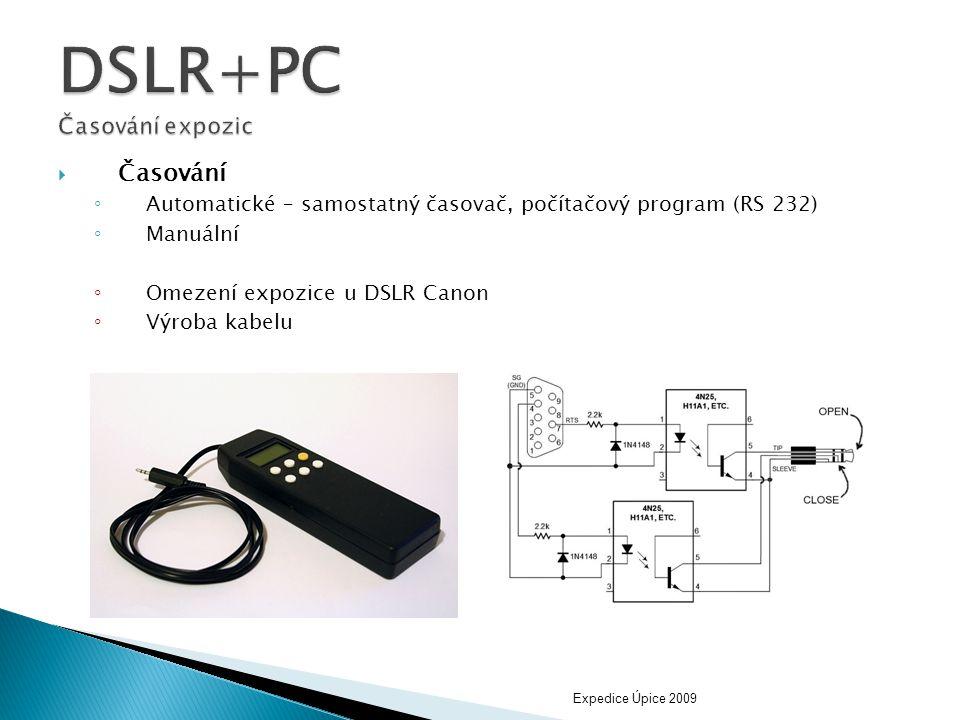 DSLR+PC Časování expozic