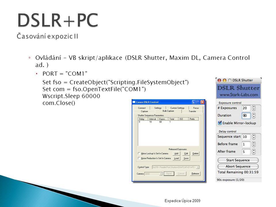 DSLR+PC Časování expozic II
