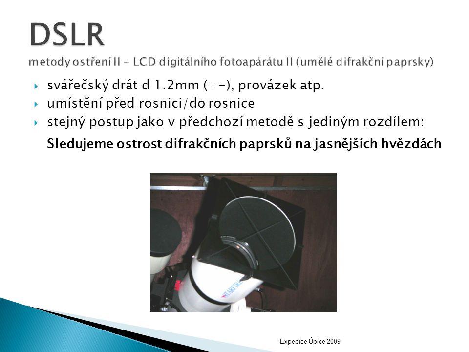 DSLR metody ostření II - LCD digitálního fotoapárátu II (umělé difrakční paprsky)