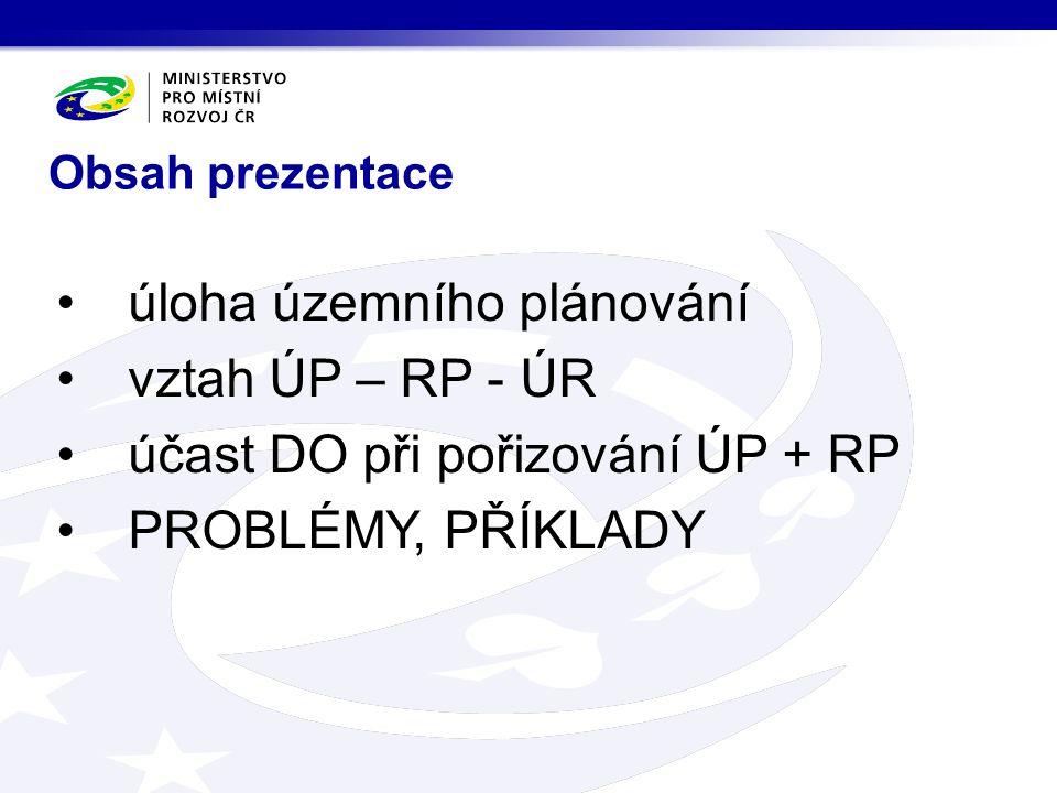 úloha územního plánování vztah ÚP – RP - ÚR