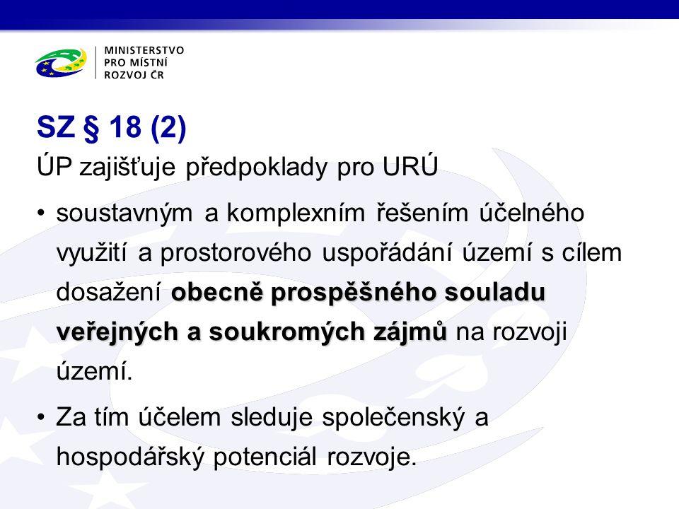 SZ § 18 (2) ÚP zajišťuje předpoklady pro URÚ