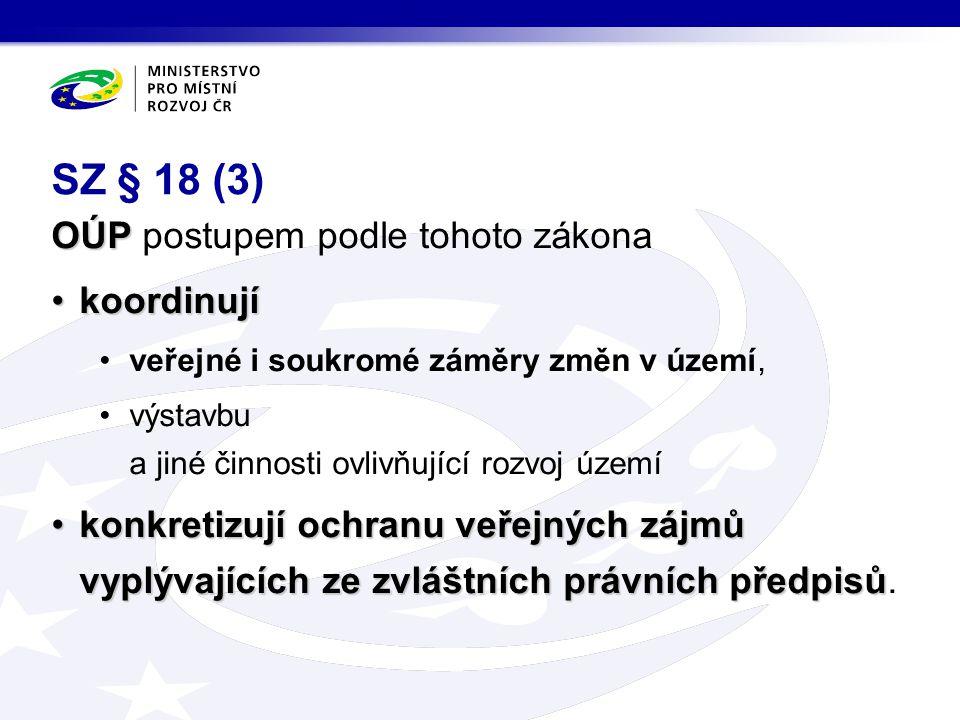 SZ § 18 (3) OÚP postupem podle tohoto zákona koordinují