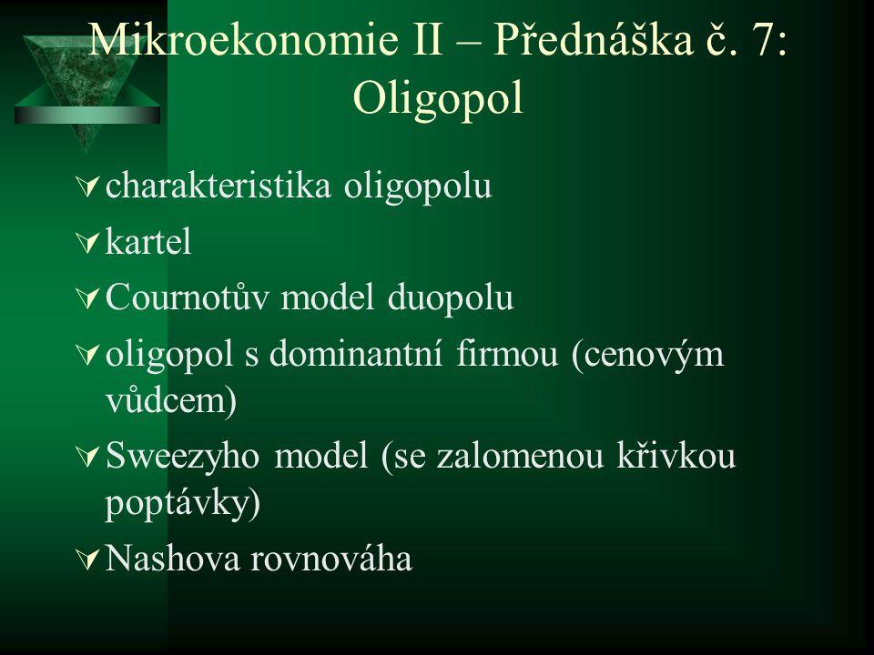 Mikroekonomie II – Přednáška č. 7: Oligopol