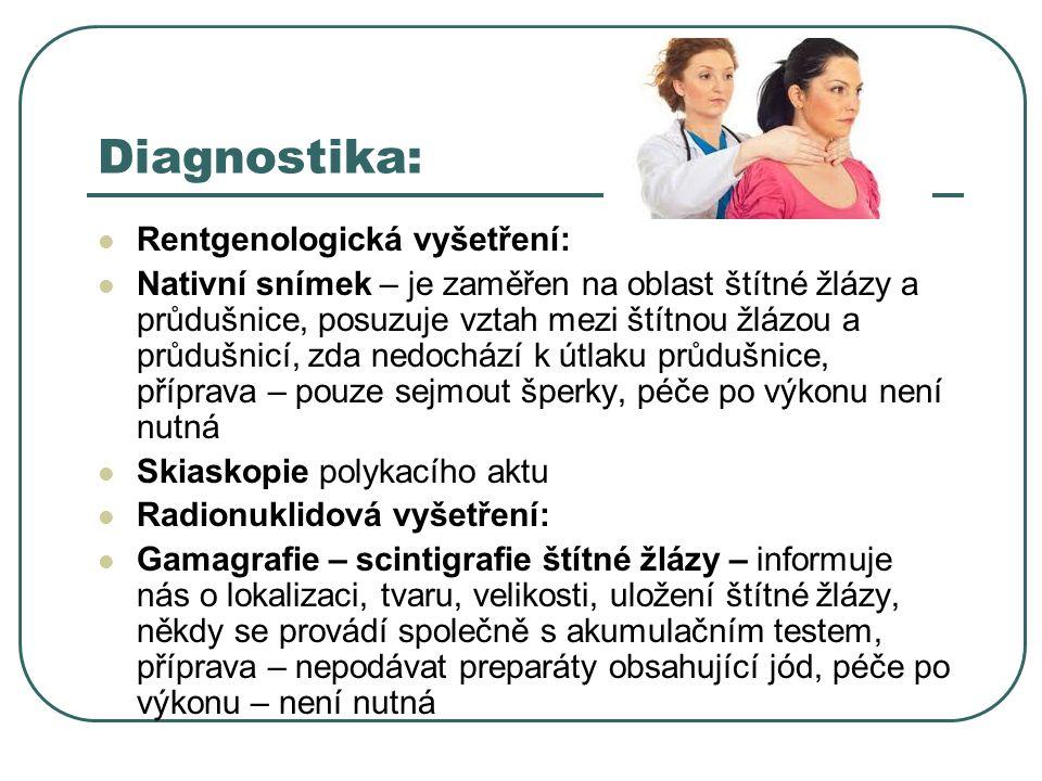 Diagnostika: Rentgenologická vyšetření: