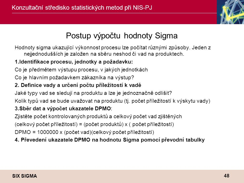 Postup výpočtu hodnoty Sigma