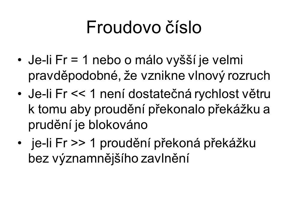 Froudovo číslo Je-li Fr = 1 nebo o málo vyšší je velmi pravděpodobné, že vznikne vlnový rozruch.
