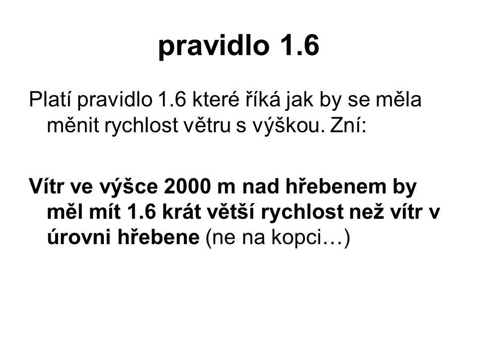 pravidlo 1.6 Platí pravidlo 1.6 které říká jak by se měla měnit rychlost větru s výškou. Zní: