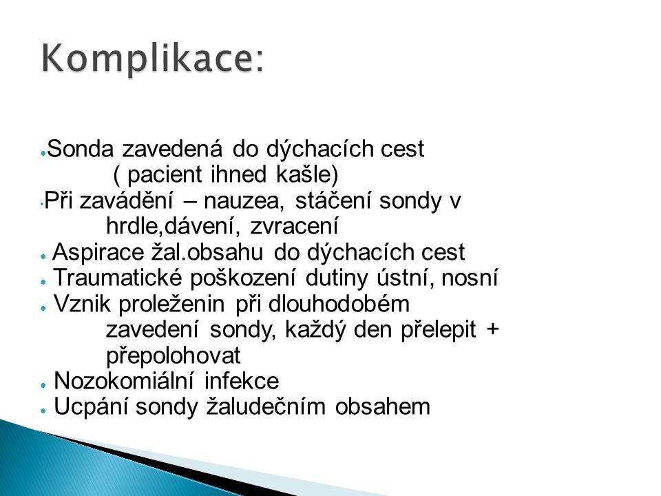 Komplikace: Sonda zavedená do dýchacích cest ( pacient ihned kašle)