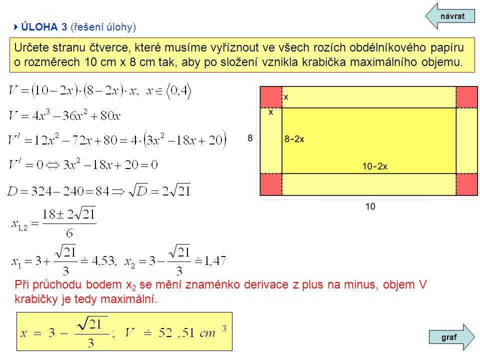 návrat ÚLOHA 3 (řešení úlohy) Určete stranu čtverce, které musíme vyříznout ve všech rozích obdélníkového papíru.
