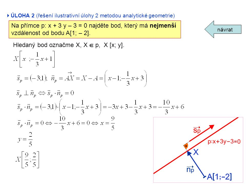 Na přímce p: x + 3 y – 3 = 0 najděte bod, který má nejmenší