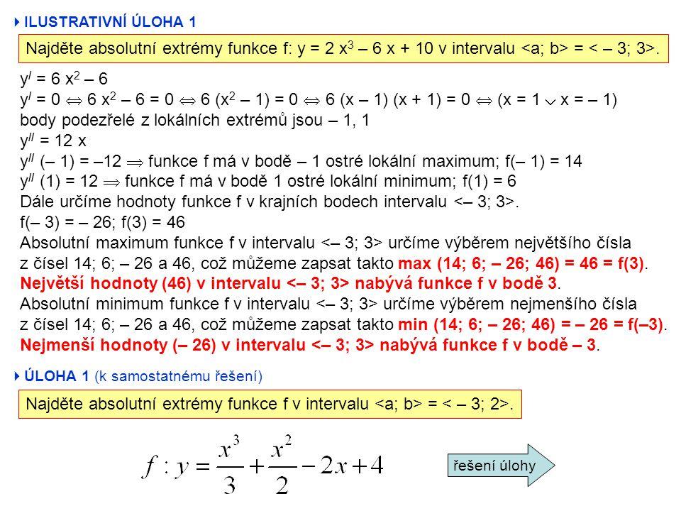 body podezřelé z lokálních extrémů jsou – 1, 1 y// = 12 x