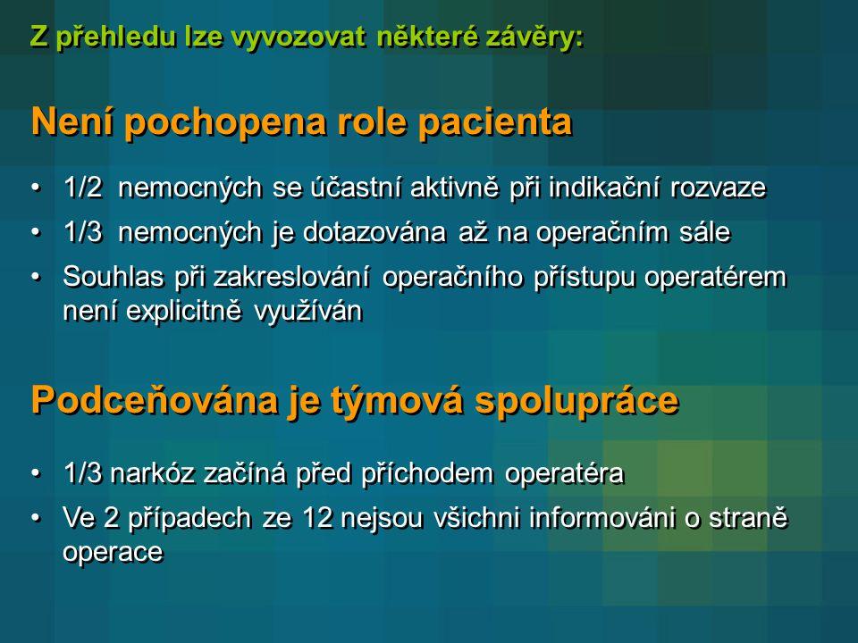 Není pochopena role pacienta
