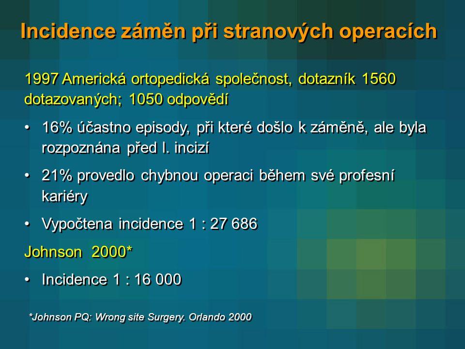 Incidence záměn při stranových operacích