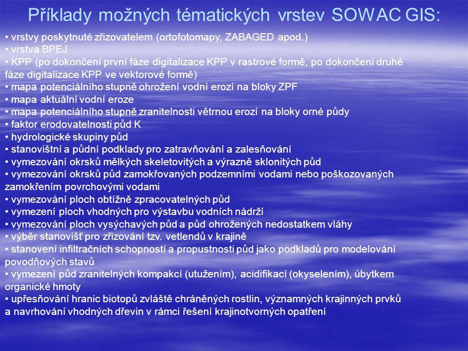 Příklady možných tématických vrstev SOWAC GIS: