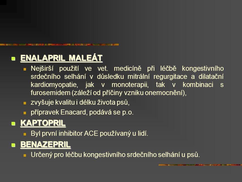ENALAPRIL MALEÁT KAPTOPRIL BENAZEPRIL