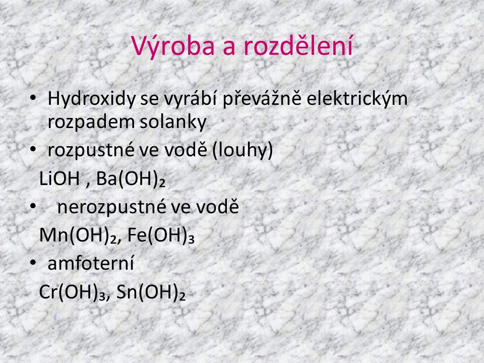 Výroba a rozdělení Hydroxidy se vyrábí převážně elektrickým rozpadem solanky. rozpustné ve vodě (louhy)