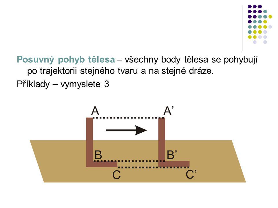 Posuvný pohyb tělesa – všechny body tělesa se pohybují po trajektorii stejného tvaru a na stejné dráze.