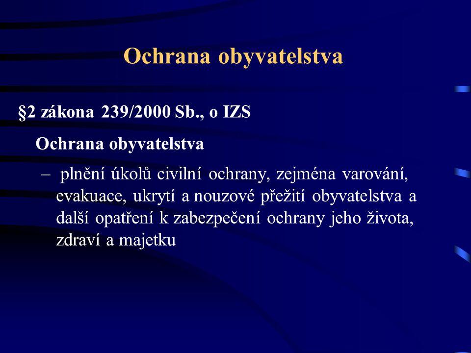 Ochrana obyvatelstva §2 zákona 239/2000 Sb., o IZS