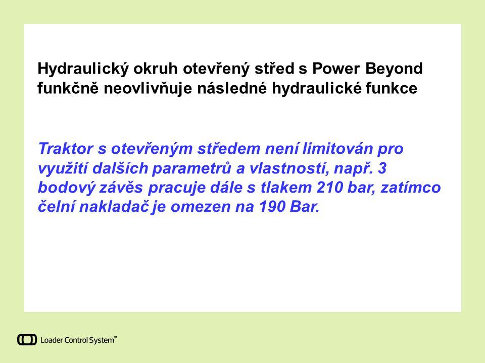 Hydraulický okruh otevřený střed s Power Beyond funkčně neovlivňuje následné hydraulické funkce