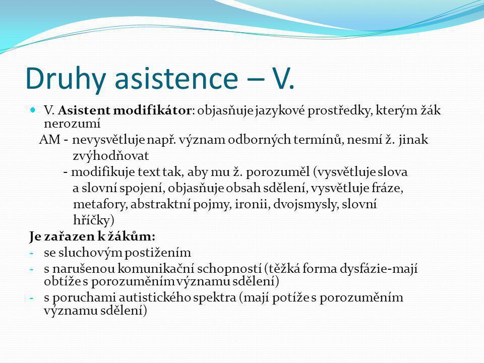 Druhy asistence – V. V. Asistent modifikátor: objasňuje jazykové prostředky, kterým žák nerozumí.