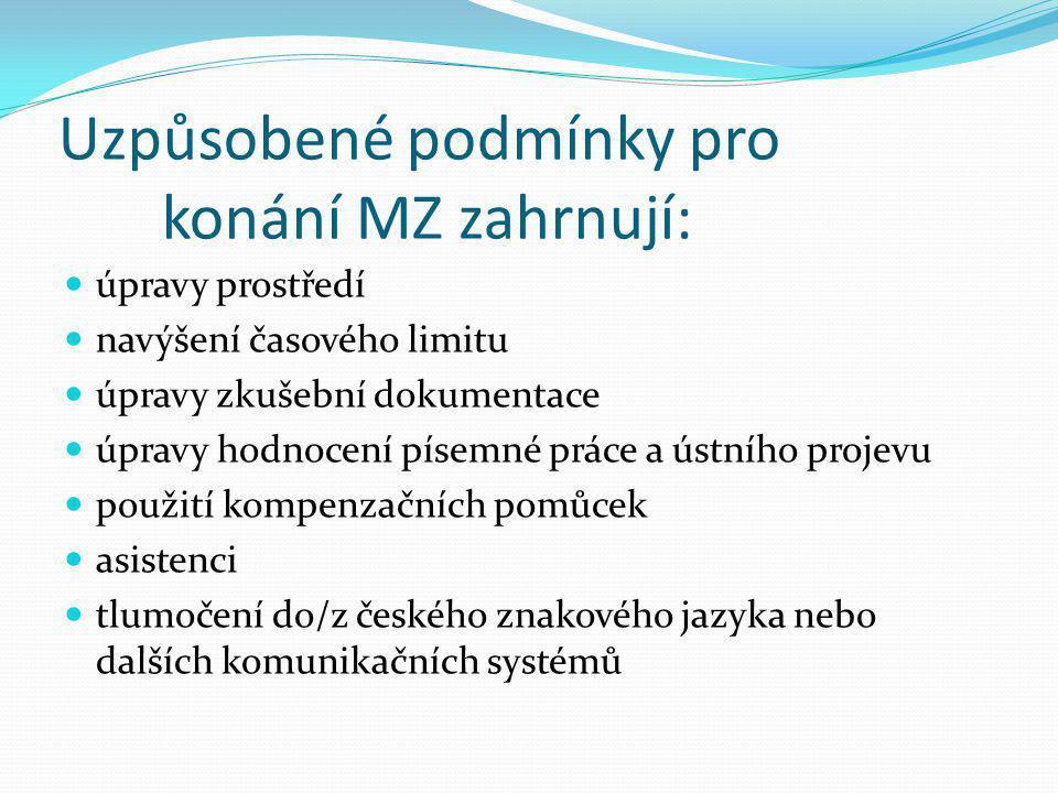 Uzpůsobené podmínky pro konání MZ zahrnují: