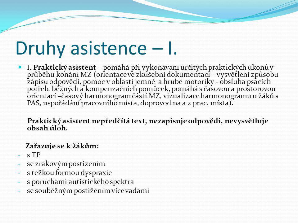 Druhy asistence – I.