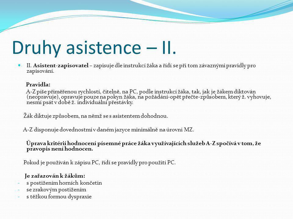 Druhy asistence – II. II. Asistent-zapisovatel – zapisuje dle instrukcí žáka a řídí se při tom závaznými pravidly pro zapisování.