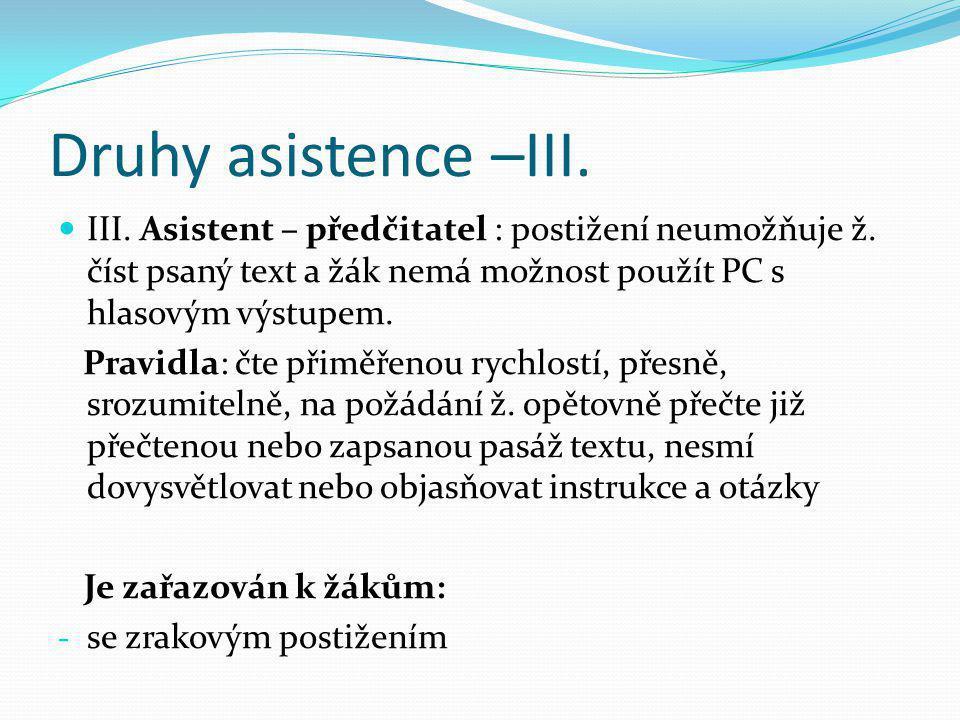 Druhy asistence –III. III. Asistent – předčitatel : postižení neumožňuje ž. číst psaný text a žák nemá možnost použít PC s hlasovým výstupem.