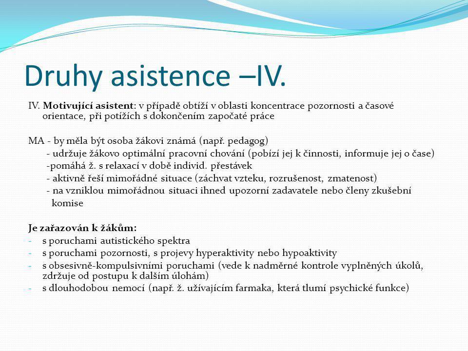 Druhy asistence –IV.