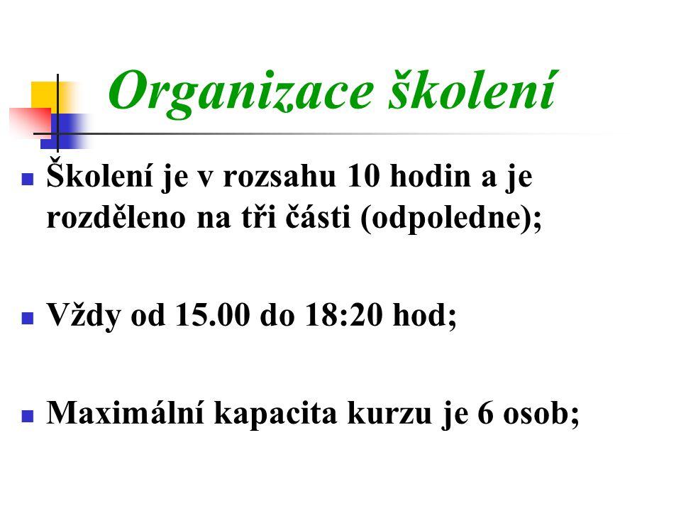 Organizace školení Školení je v rozsahu 10 hodin a je rozděleno na tři části (odpoledne); Vždy od 15.00 do 18:20 hod;