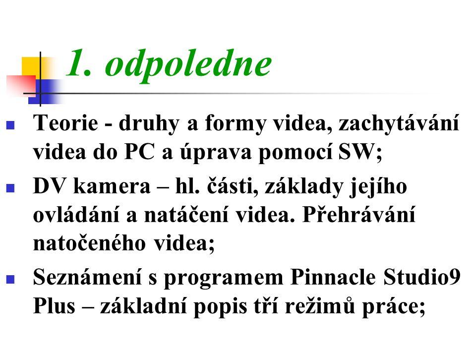1. odpoledne Teorie - druhy a formy videa, zachytávání videa do PC a úprava pomocí SW;