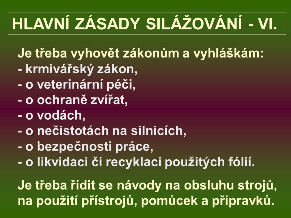 HLAVNÍ ZÁSADY SILÁŽOVÁNÍ - VI.