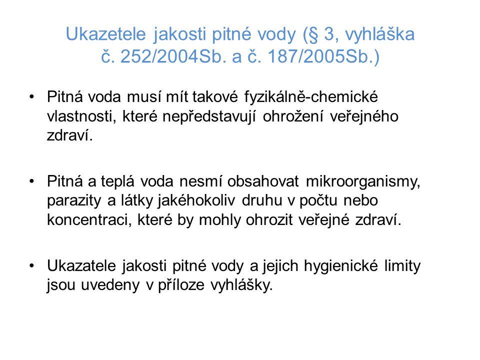 Ukazetele jakosti pitné vody (§ 3, vyhláška č. 252/2004Sb. a č