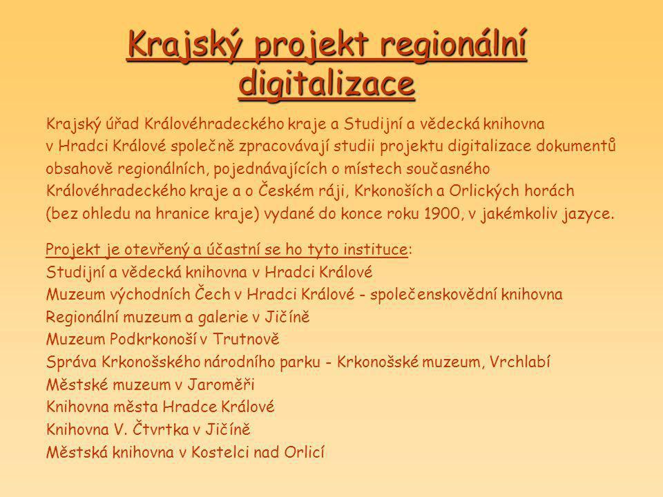 Krajský projekt regionální digitalizace