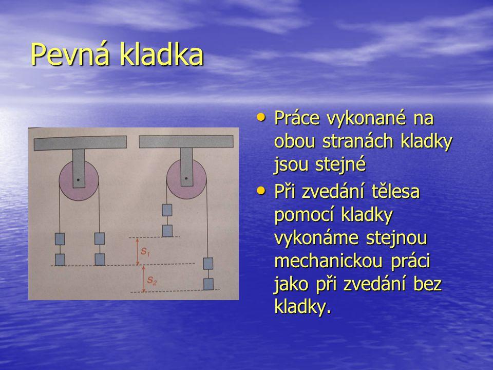 Pevná kladka Práce vykonané na obou stranách kladky jsou stejné