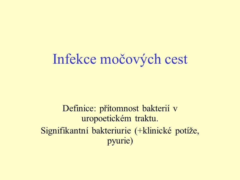 Infekce močových cest Definice: přítomnost bakterií v uropoetickém traktu.