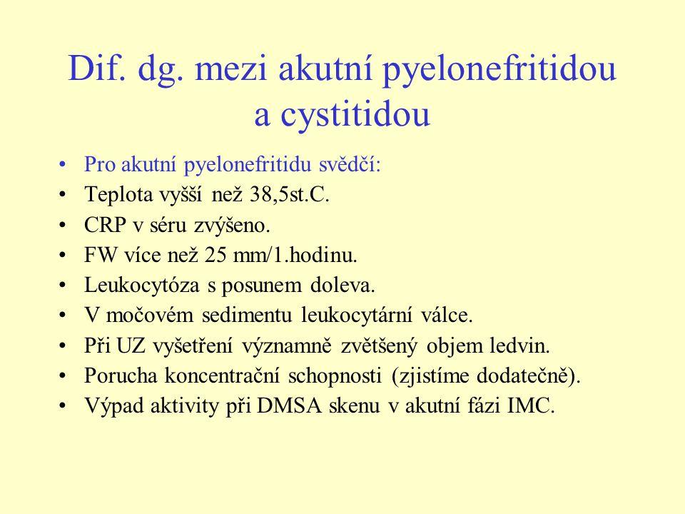Dif. dg. mezi akutní pyelonefritidou a cystitidou