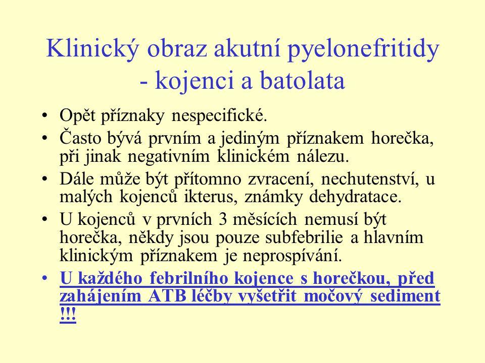 Klinický obraz akutní pyelonefritidy - kojenci a batolata