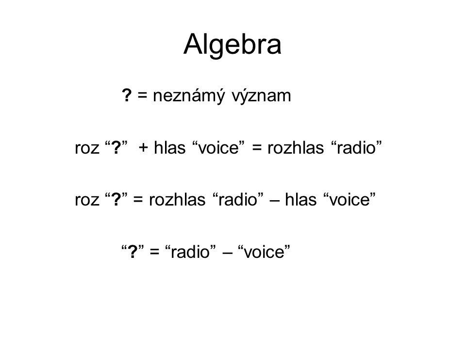 Algebra = neznámý význam roz + hlas voice = rozhlas radio